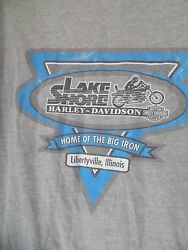 Harley Davidson Men Lake Shore Libertyville Illinois T Shirt Gray Sz L $25.99