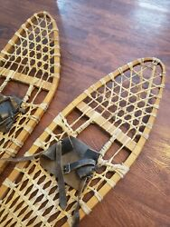 Antique Snowshoes Vintage Wooden w Leather Bindings 11in × 45in 28cm x 114cm C $60.00
