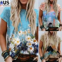 Women#x27;s Summer Short Sleeve Casual Crew Neck T Shirt Boho Print Loose Top Blouse $13.59
