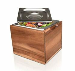 Rust Proof Stainless Steel Countertop Compost Bin with Lid and Acacia Wood Box $60.77