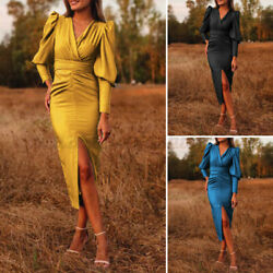 Womens Puff Long Sleeve V Neck Bodycon Dress Formal Party Cocktail Tunic Dresses $22.07