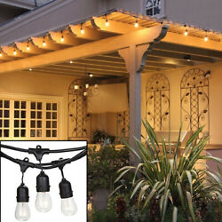 48ft Outdoor String Lights Hanging Sockets Perfect Patio 24 Bulbs Yard Lamp $47.99
