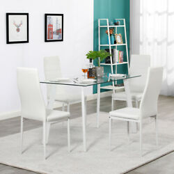 5 Piece Dining Table Sets Glass Metal 4 Chairs Kitchen Room Furniture $202.99