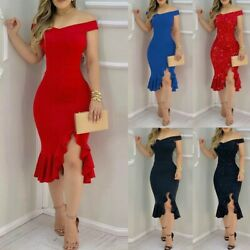 Women Party Dress Glitter Cold Off Shoulder Ruffle Skirt Bodycon Slit Dresses $16.71