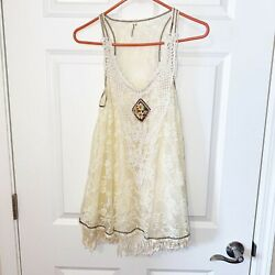 Juicy Couture Women's Boho Lace Layered Cream Tank Top Embellished Fringe Small $18.00