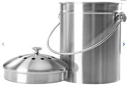 Epica Stainless Steel Compost Bin 1.3 Gallon Charcoal Filter Silver Kitchen Pail $29.99