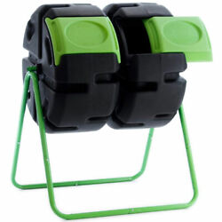 FCMP Outdoor HOTFROG 37 Gallon Plastic Dual Body Rotating Tumbling Composter Bin $232.76
