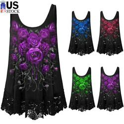 Women#x27;s Sexy Lace Tank Tops Cami Camisole Gothic Punk Sleeveless T Shirt Blouse