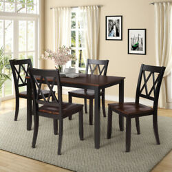 5 Piece Dining Table Sets Dining Table w 4 Chairs Wood Dining Sets Home Kitchen $469.99