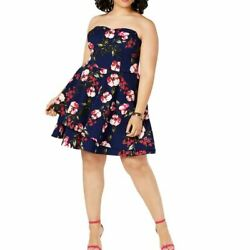B. DARLIN NEW Women#x27;s Navy Strapless Floral Cocktail Fit amp; Flare Dress TEDO $9.82