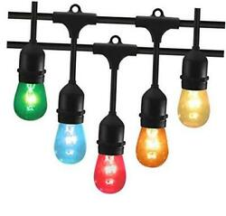 48 Feet Outdoor String Lights with 15 Hanging Sockets and S14 Edison Bulbs UL $78.46