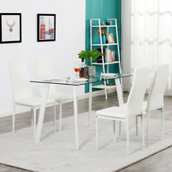 5 Piece Dining Table Sets Furniture Kitchen Room Glass Metal 4 PU Leather Chairs $234.65