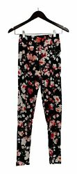 Legacy Leggings Sz XS Brushed Jersey Floral Printed Black A298665 $11.99