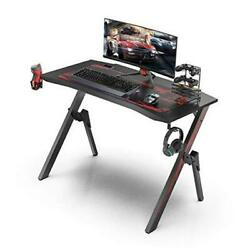 Gaming Desk 43.3quot; Gaming Computer Desk Black Gamer Table with Cable $132.14