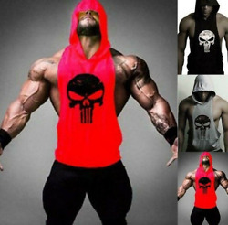New Men#x27;s Gym Clothing Stringer Hoodie Bodybuilding Tank Top Muscle Hooded Shirt $12.99
