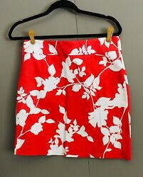 Finity Women#x27;s Sz 10 Red and White Floral Mini Skirt $5.99