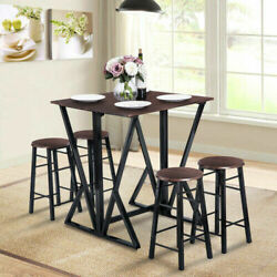 5 Piece Dining Sets Pub Table Bar Stools Dining Table Sets Counter Height Chairs $178.59
