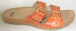 EARTH SAND ANTIGUA SUN ORANGE PERFORATED LEATHER SLIDE SANDALS 9.5 W $8.99