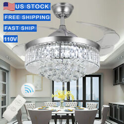 42#x27; Silver LED Invisable Ceiling Fan Lamp Crystal Lighting Remote Chandeliers $135.99