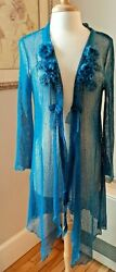 Pretty Angel Long Boho Cardigan Teal Size Large Fishnet Sheer Style $30.00