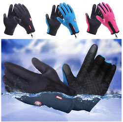 New Windproof Gloves Cycling Mittens with Zipper Touchscreen Gloves Winter Warm $8.99