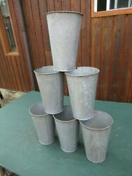 ANTIQUE 6 Maple Syrup OLD Galvanized Sap TAPERED Buckets 13quot; High VERY LARGE $19.79