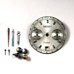 Used Original Vintage Parts for Poljot Chronograph Dial Hands Buttons Crowns $36.00
