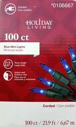 HOLIDAY LIVING 100 Ct Blue Incandescent Mini Lights Green Wire 20Ft Length. $8.99
