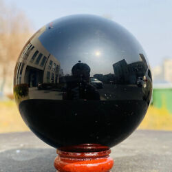 60mm Natural Black Obsidian Sphere Crystal Ball Healing Stone Free Stand $19.99