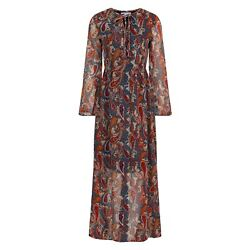 Diya Multicoloured Paisley Print Chiffon Long Sleeve Maxi Dress BNWT Size 8 GBP 14.99