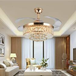 42quot; 36quot; Crystal Chandelier Invisible Ceiling Fan Light w 3 Color LED Remote $139.99