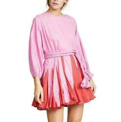 New Rhode Womens Chic Rose Red Thin Tie Lantern Sleeve Pleated Dress Holiday $54.41
