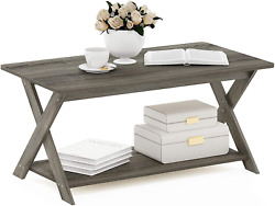 Wooden Coffee Table Living Room Desk With Storage Shelf Garden Patio Simple Gray $65.99
