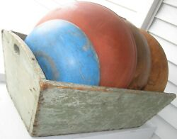 ANTIQUE WOODEN RUSTIC FABULOUS DOUGH BOX IN OLD MULTI GREEN PAINT $495.00
