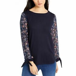 VINCE CAMUTO NEW Women#x27;s Tie Cuff Sheer Floral Sleeve Blouse Shirt Top M TEDO $14.98