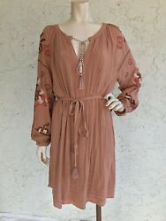 NWT New York amp; Co. Dress Brown Embroidered Boho Size L $34.99