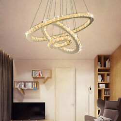 Contemporary Pendant Lamp Crystal Ceiling Chandelier Adjustable Ring Fixture Bar $109.99