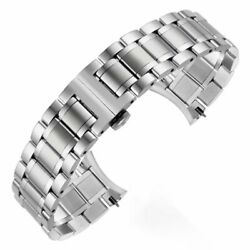 Solid Stainless Steel Watch Band Bracelet Butterfly ClaspCurved End 16 24MM $9.99