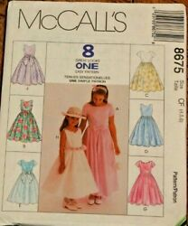 McCall#x27;s 8675 Girls Formal Party Bridal Dress in 8 Styles Sewing Pattern 4 5 6 $8.25