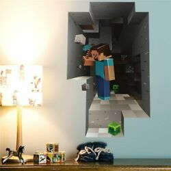 3D Minecraft Wall Stickers For Kids Rooms Steve Creeper Enderman Cave Brand New $14.00