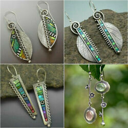 Antique 925 Silver Bohemian Colorful Gemstone Earrings Women Party Fine Jewelry $2.55