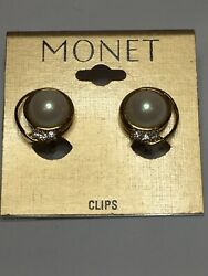 Monet Earrings Gold Tone Faux Pearl Rhinestones Round Clip On Card Approx. 3 4quot; $9.99