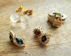 Elegant Vintage Unsigned Mixed Earring Lot $9.25