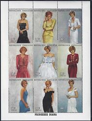 TOGO 1997 PRINCESS DIANE IN DESIGNER GOWNS 9 SOUVENIR SHEETS amp; SHEET OF 9 Sc