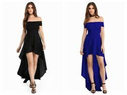 Women High Low Solid Hem Off Shoulder Maxi Long Party Cocktail Evening DressAW $22.00
