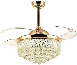 Dimmable Modern LED Chandeliers Crystal Retractable Ceiling Fans Light w Remote $174.79