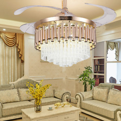 42quot; Luxury Crystal Invisible Ceiling Fan Lamp Remote Control LED Chandelier Gold $175.99