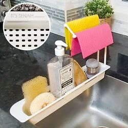 Telescopic Sink Storage Rack Dishcloths Sponge Holder With Kitchen Towel Hangers $7.99