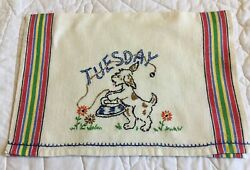 Vintage Kitchen Towel Woven Stripes Hand Embroidered Tuesday Dog Iron $8.25