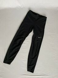 Nike Shield Black Running Leggings size Small with Zipper Legs $20.00